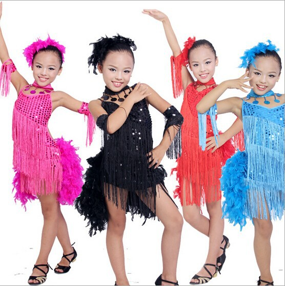 DB23553 fringe feather sequin latin dance dress-1