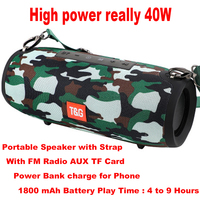 40W Bluetooth Speaker Portable Column Speaker Music Player Speakers Column Boom Box with FM Radio Aux TF Subwoofer Dolube TG125