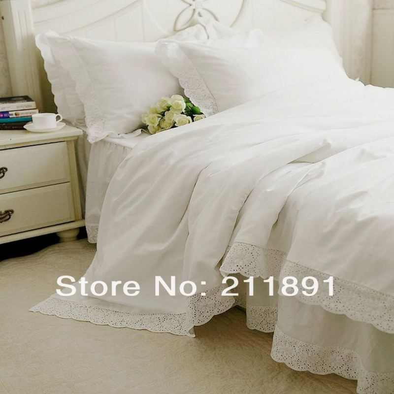 Buy newest white lace bed skirts princess for Housse de couette blanche brodee