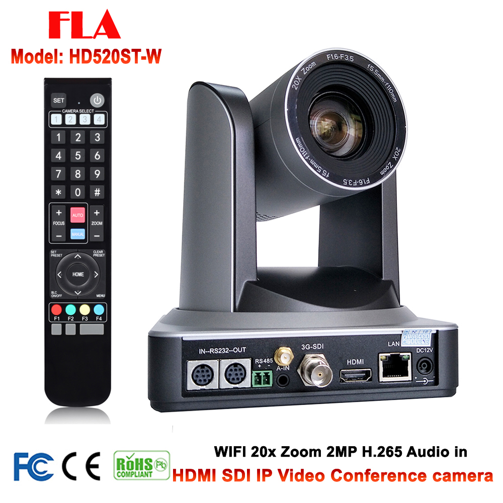 20X Optical Zoom PTZ IP WIFI Streaming Video Audio Camera RTMP RTSP Onvif with Simultaneous HDMI and 3G-SDI Outputs Silver Color image