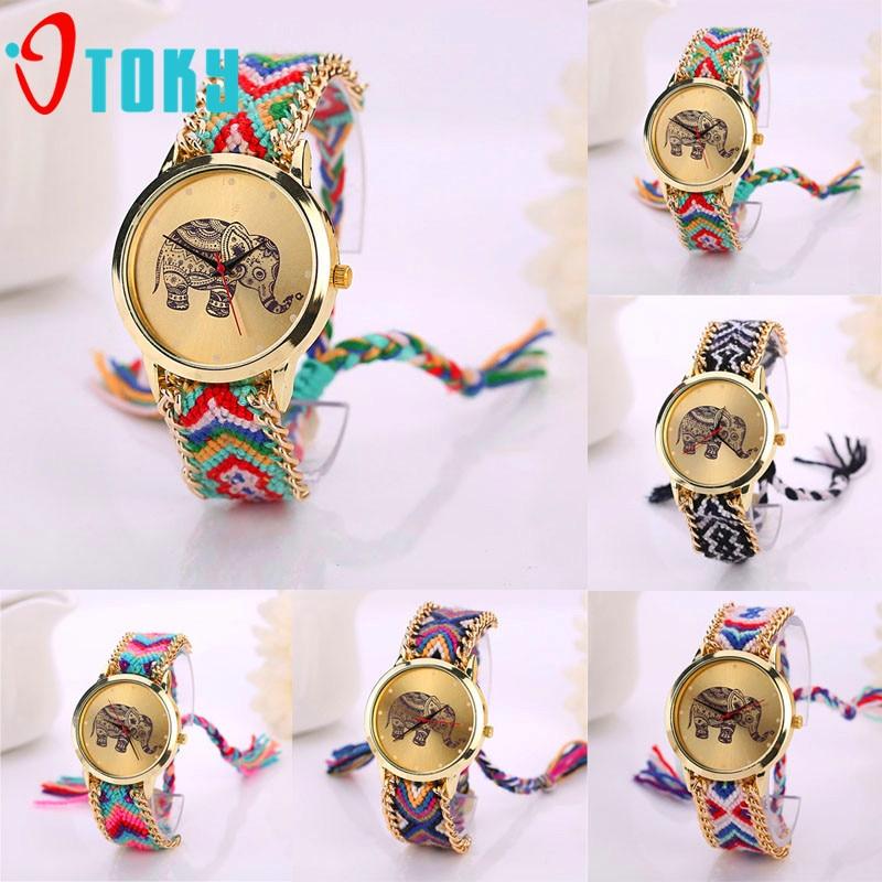 OTOKY Elephant Pattern Weaved Rope Band Bracelet Quartz Dial Women Watch Drop Shipping P23 Jul21 цена