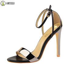 Luxury Designer PU 11cm High Heels Fetish Quality Elegant Sandals Female Gladiator Summer Cheap Shoes Lady Silver Sexy Pumps