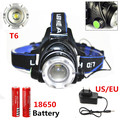 Hot!!! T6 Headlamp 2000Lumens XML T6 Zoomable HeadLamp Rechargeable Led HeadLight + 2x 18650 Battery+ AC Charger