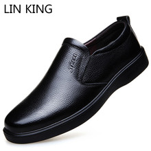 LIN KING New Design Genuine Leather Men Casual Shoes Shallow Slip On Formal Solid Man Business Dress Male Loafers