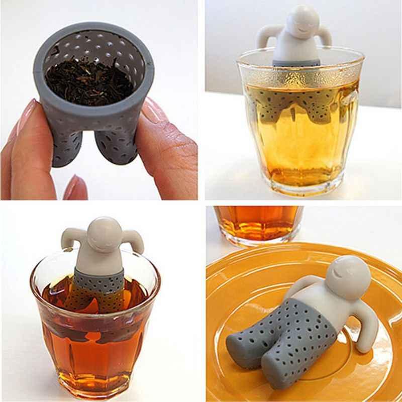 סיליקון תה מסננת מעניין חיים שותף חמוד מיסטר קומקום מר איש קטן אנשים תה Infuser מסנן מתבשל ביצוע קומקום