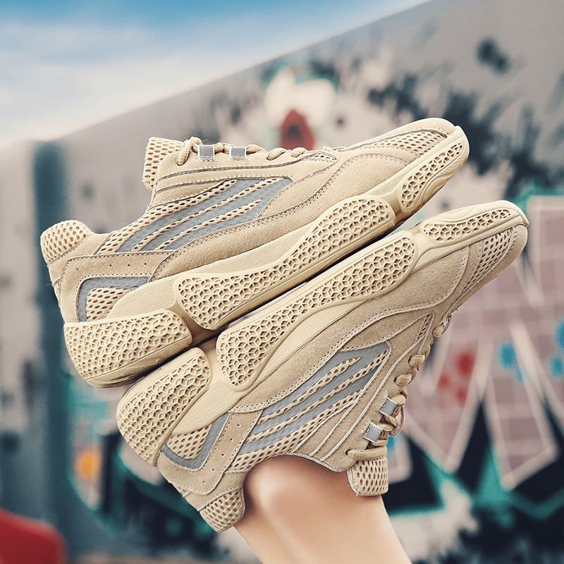 Shoes Adroit Men Sneakers Casual Real Leather Lace Up Outdoor Flats Jogging Air Mesh Hiking Shoes Led Luminous Shoes Breathable Men Shoes C4