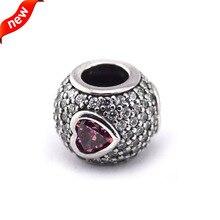 """Perlas para el día de san valentín regalo en forma de té para pulseras Pandora 925 joyas de plata de los encantos DIY """" pavimenta con rosada del corazón """" FL12330"""