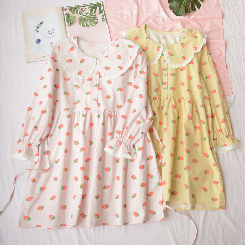 Mori Girl Doll Collar Cute Strawberry Print Stripe Dress Japanese Kawaii Lolita Girl Lace Princess Doll Dresses Early Spring