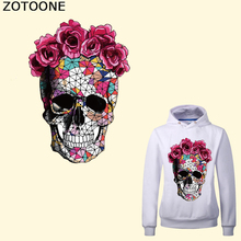 ZOTOONE Flower Skull Patches for Clothes Iron on Transfer Applique Patches DIY Accessory Heat Transfer Vinyl Stickers Heat Press heat transfer mould solid aluminium alloy 3d heat press phone case mould for lenovo a2010