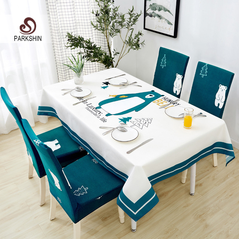 Parkshin Modern Cartoon Bear Tablecloth Home Kitchen Rectangle Decorative Table Cloths Party Banquet Dining Table Cover 4 Size-in Tablecloths from Home & Garden