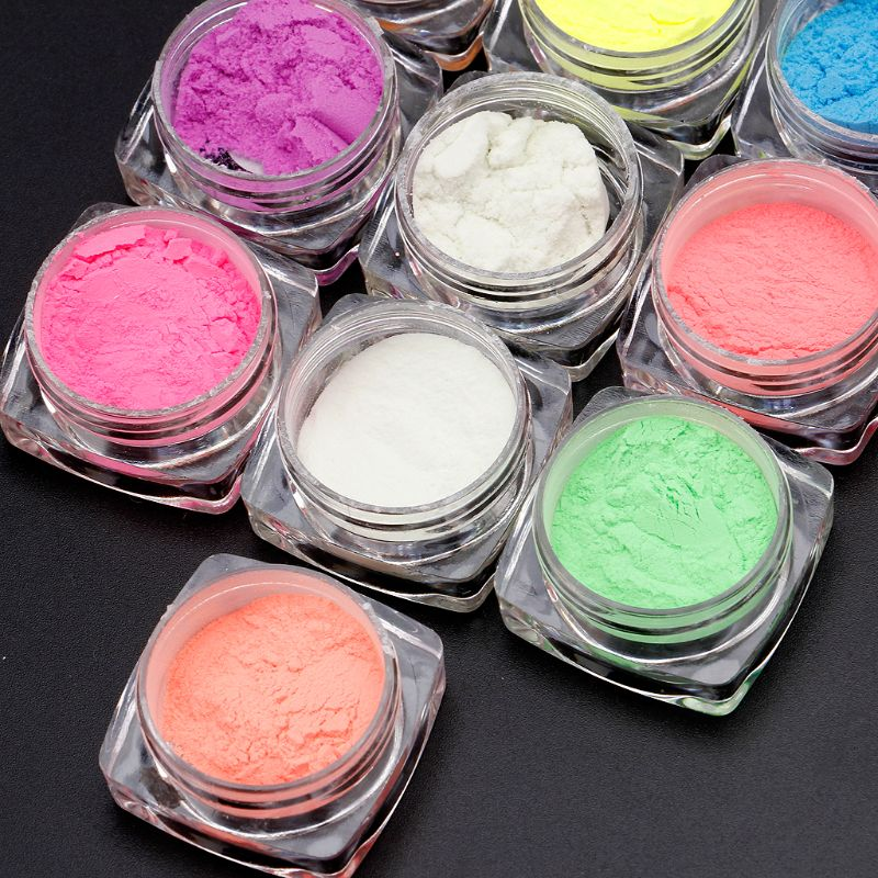 10 Colors Luminous Nail Glitter Powder Resin Neon Phosphor Pigment Dye UV Resin Epoxy DIY Making Jewelry Nail Art Decorations 3