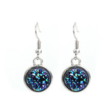 DoreenBeads Resin Drusy Drop Earrings Dull Silver Color AB Color Round Handmade Chic Earrings Jewelry for Women 34 x 15mm 1 Pair