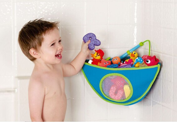 Kids Bath Toys Storage Bag With Suction Cup Children Bathroom Waterproof Bathing Toys Collection Organizer Hanging Wall Bag in Storage Bags from Home Garden
