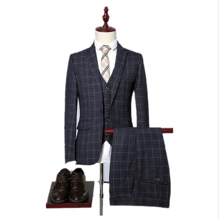 2019 Spring Men Fashion Grid Stripe Suit Men's Slim Fit Business Suits Men Wedding Tuxedo 3 Pieces Suits (Jacket+Vest+Pants)