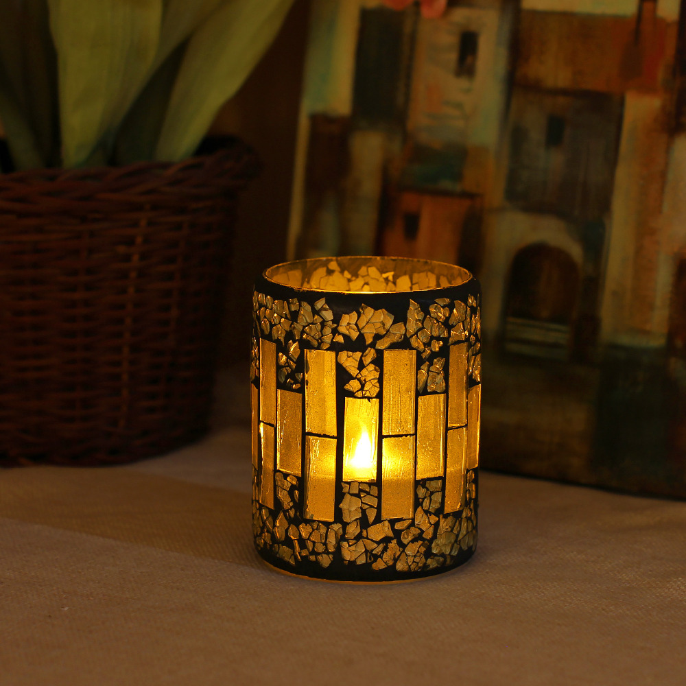 GiveU Mosaic Flameless Candle, Pillar Led Candle with Timer, 3X4″, for Home Decor, Weddings, Partys and Awesome Gift