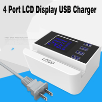 4 Port USB Charger With LCD Digital Display Travel Wall Charger For Samsung Galaxy Note 8