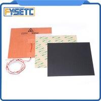 200X200mm 220 V 500 W almohadilla de calentador de silicona + 0 5/0 8/1mm negro esmerilado construir superficie polieterimida frío PEI hoja para Prusa i3|Accesorios y partes de impresoras 3D| |  -