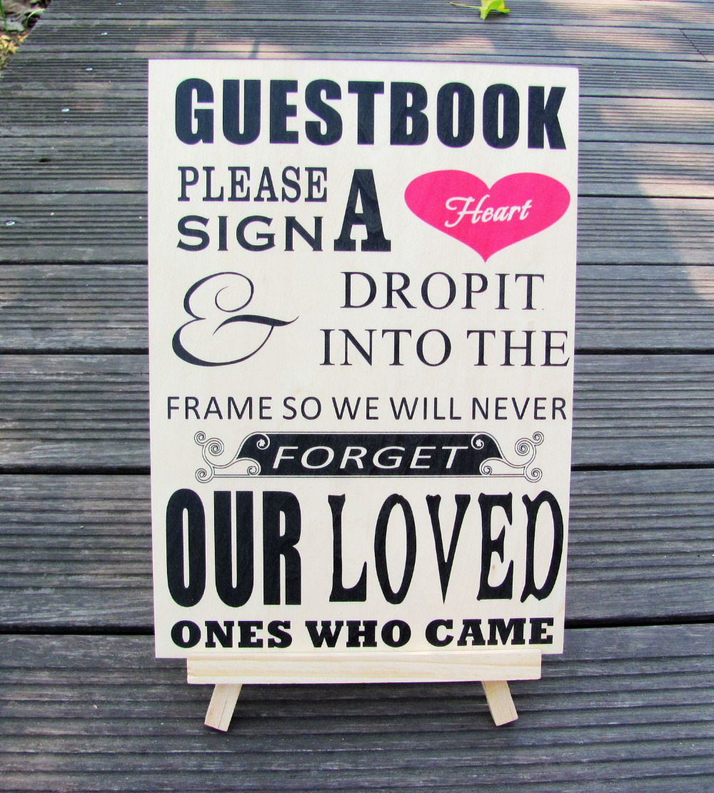 Please Sign A Heart Sign For Wooden Wedding Heart Drop Box Guest