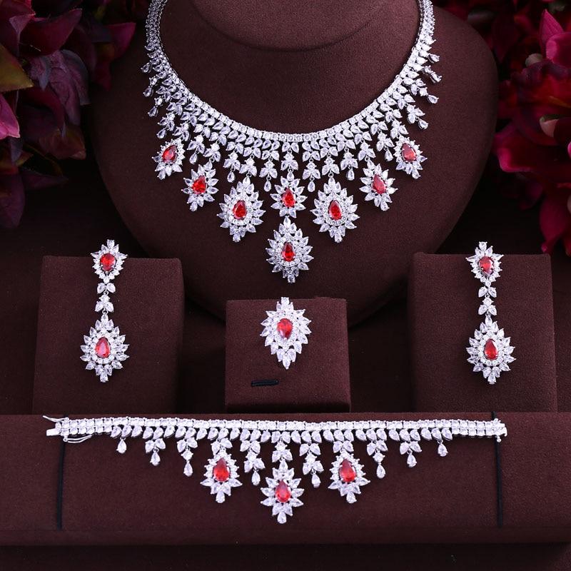 Green Blue Black Red cubic zirconia necklace drop earrings bracelet and ring 4pcs dubai wedding Bridal full jewelry set
