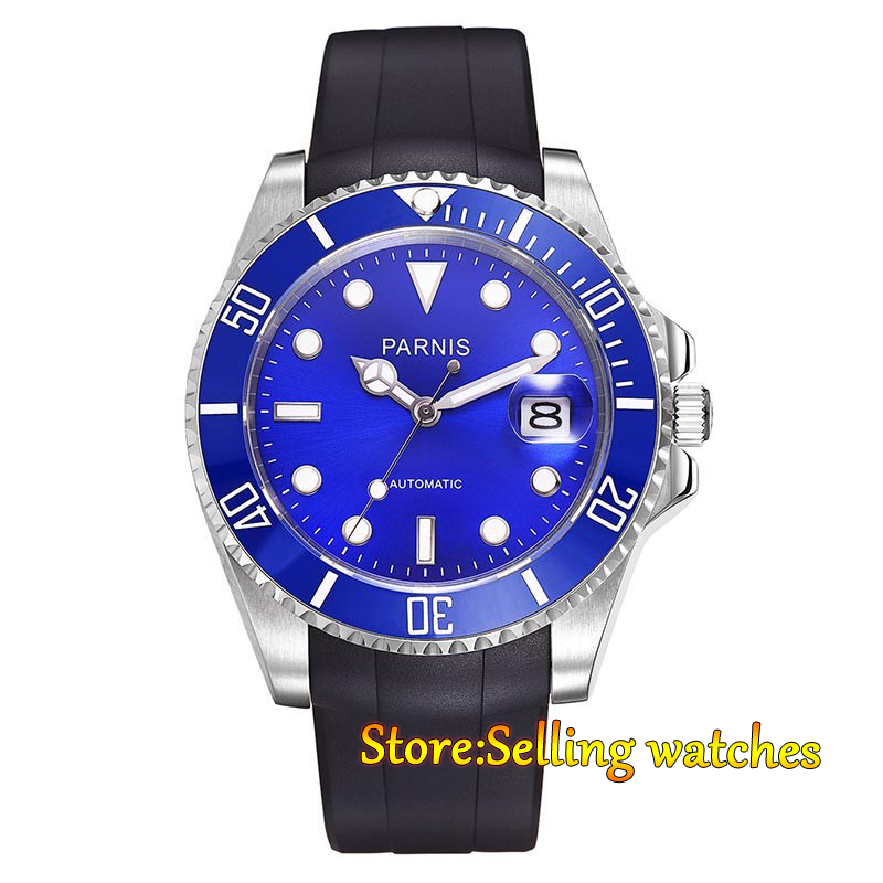 Parnis 40mm blue dial sapphire Glass ceramic bezel 21 jewels MIYOTA Automatic movement Men's watch parnis 40mm blue dial sapphire glass ceramic bezel 21 jewels miyota automatic movement men s watch