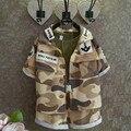 Новинка летние дети комплект одежды мальчиков и девочек 3 шт. комплект с коротким рукавом армия зеленый Soild + камуфляж пальто + шорты Set