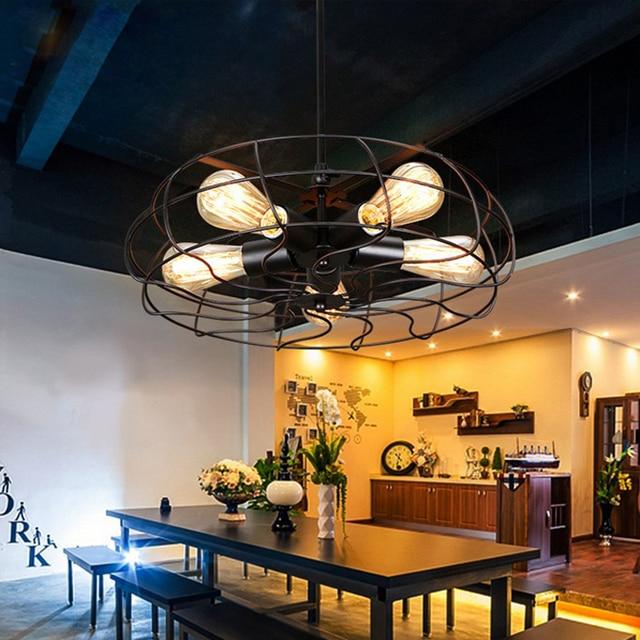 Fan l& lof pendant light Retro LOFT industrial ceiling fan pendant Cafe living room bedroom balcony & Fan lamp lof pendant light Retro LOFT industrial ceiling fan pendant ...