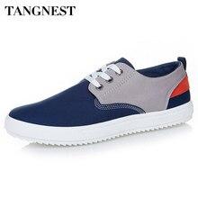 Tangnest/Мужская парусиновая обувь на весну 2017, новая мода, смешанные цвета, на шнуровке, на платформе, удобная обувь без каблука, Мужская Летняя обувь XMR1623