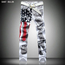 New luxury brand fashion stretch mens jeans white The national flag printing jeans men casual slim fit trousers denim pants