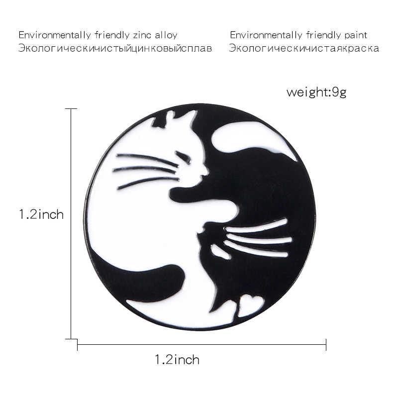 Инь Ян Кот Эмаль Булавка черно-белая обнимающая булавка в форме кошки круглые Tai Chi котенок Броши рюкзак пальто лацкан булавка животное ювелирные изделия