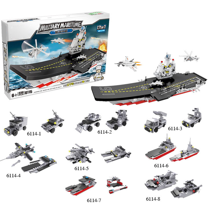 938PCS Warship Military 19 in 1 Building Blocks Bricks Toys for Children Boat Model enlighten Military Building Block Brick Toys enlighten building blocks military cruiser model building blocks girls