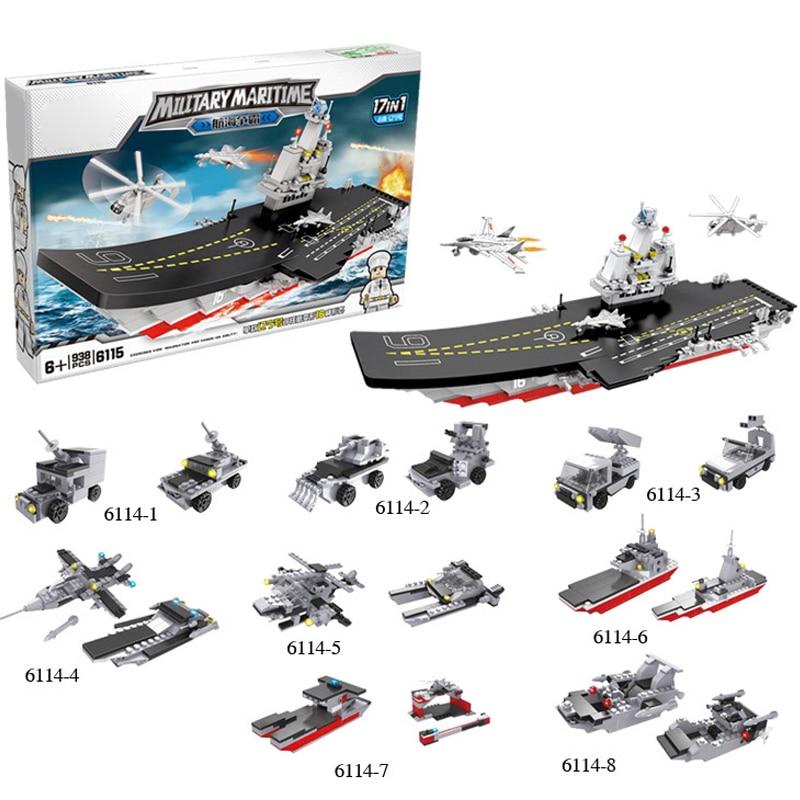 938PCS Warship Military 19 in 1 Building Blocks Bricks Toys for Children Boat Model enlighten Military Building Block Brick Toys 8 in 1 military ship building blocks toys for boys