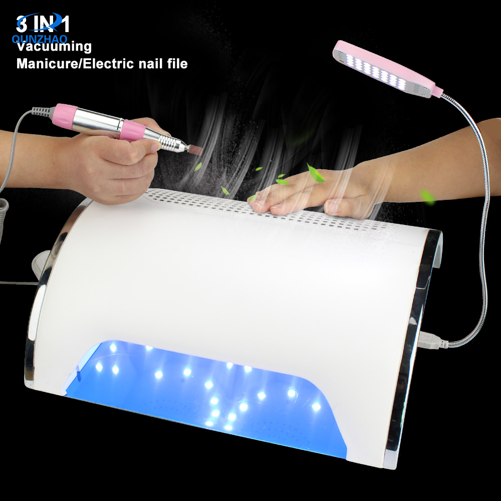 Drill Dust Collector Vacuum Nail File 54W Strong Power UV LED 3 Fans Nail Dryer Curing Lamp Nail Cleaner Plus Drill Sanding Pen 1pc laser drill buddy drill dust collector diy