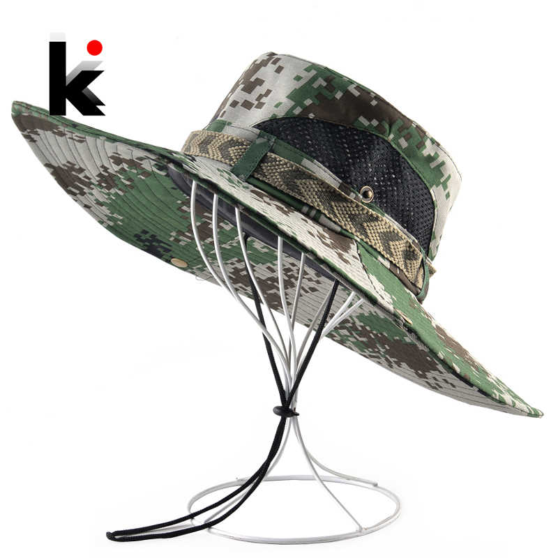 Wide Brim Sun Hat For Men Outdoor Camouflage Fishing Hiking Cap Men's Bob UV Protection Bucket Hats Beach Casual Visor Gorras