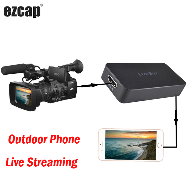 Outdoor Mobile Phone Live Streaming Box Game Recording Video Capture Card for IPhone IOS Android HDMI PS4 XBOX TV STB Camera SLR image