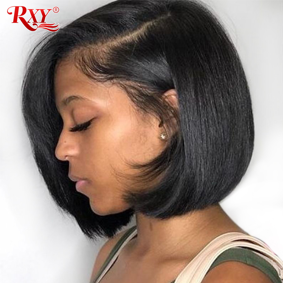 13x6 Short Bob Wigs RXY Straight Lace Front Human Hair Wigs For Black Women 6 Inch