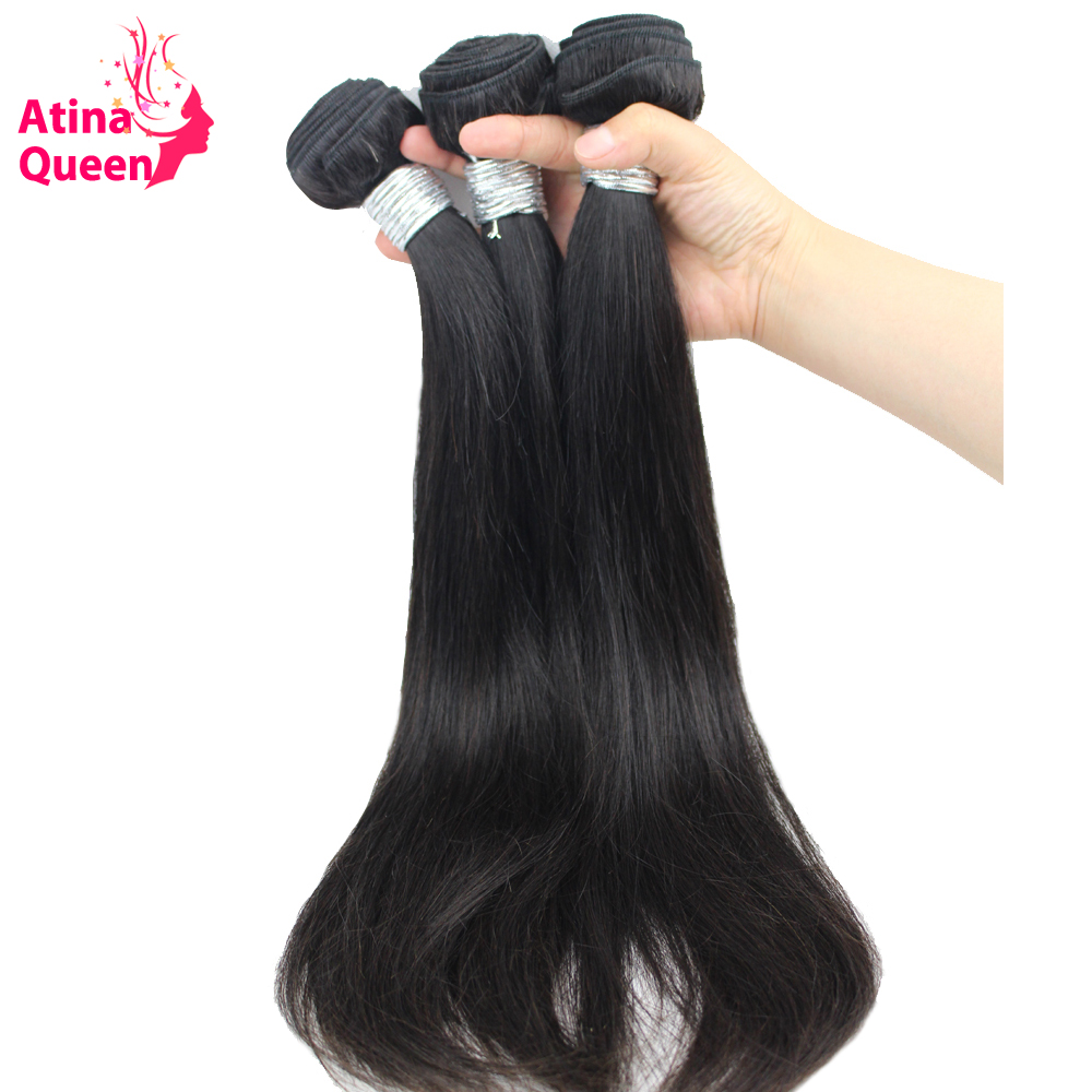 Atina Queen Hair Products Brazilian Straight Virgin Hair Weave Bundles 100 Human Hair Weaving Extensions Natural