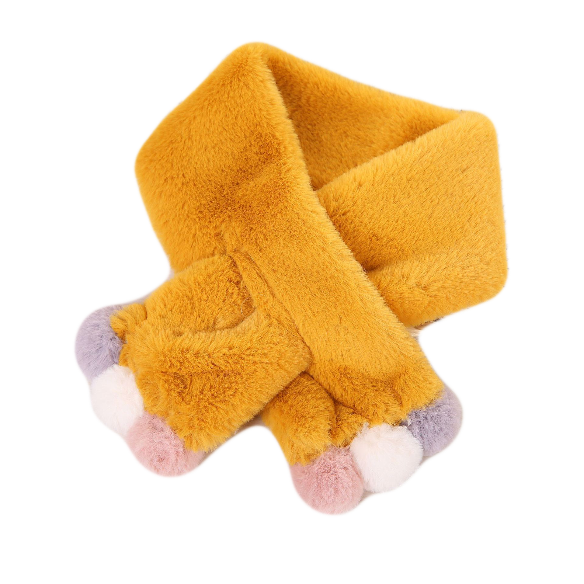 Зимний милый детский шарф, шарфы для мальчиков и девочек, детский шарф с воротником из искусственного меха кролика с помпоном, теплые шарфы - Цвет: yellow