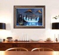 Ручная роспись холст таинственный замок декоративные панно Magic абстрактная живопись маслом Фэнтези масло Картины для Гостиная