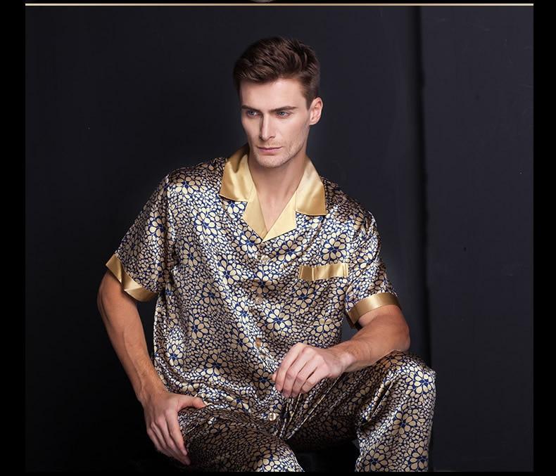 Male Silkworm Silk Shirt Trousers Printing Lapel Heavy Silk Pajama Leisurewear Suit Plus-size