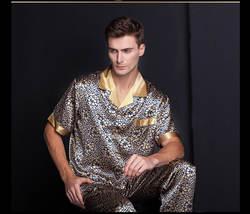 Мужской шелкопряда шелковая рубашка брюки печати с лацканами тяжелый шелк пижамы ОТДЫХА костюм плюс размер