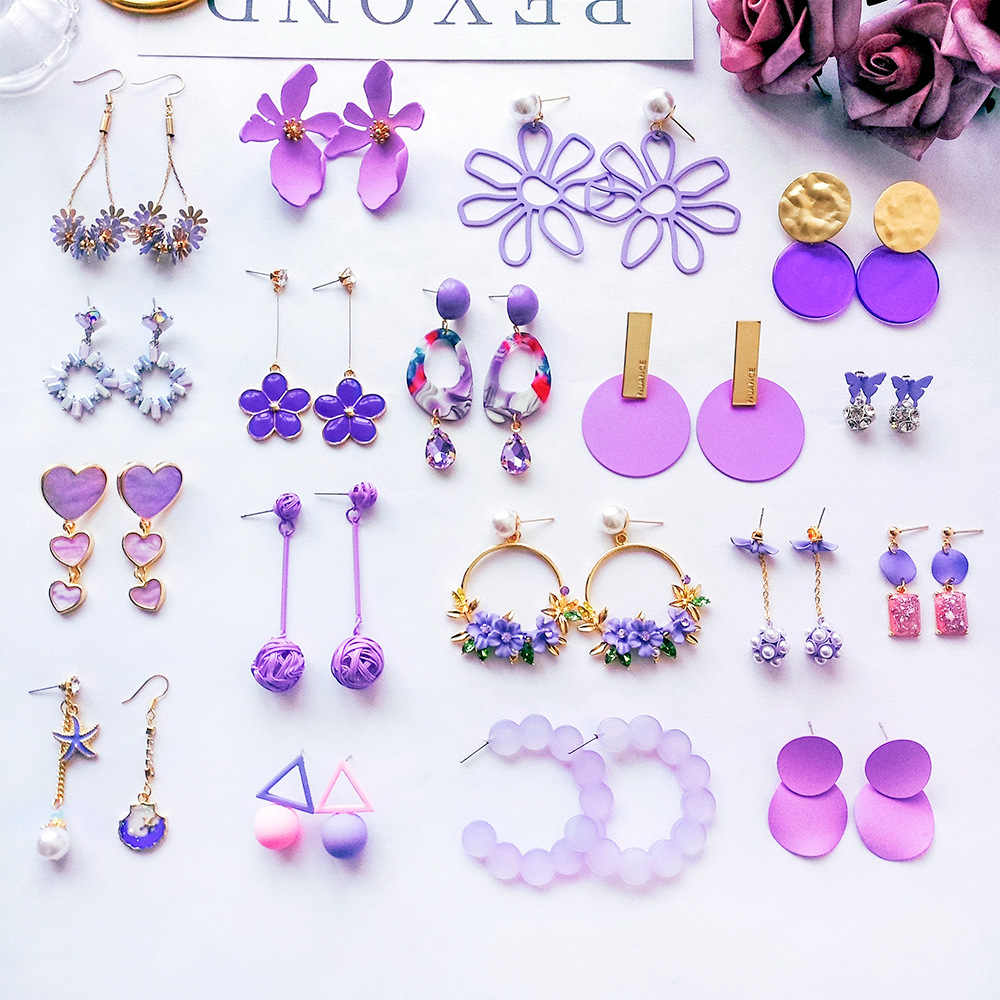 Purple Series Vintage Pearl Earrings Romantic Elegant Flowers Earrings For Women Party Geometric Cute Long Trendy Big Earrings