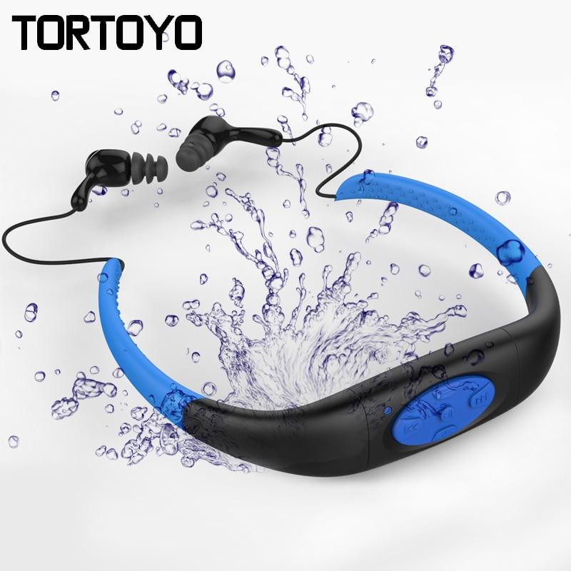 IPX8 Waterproof Swimming MP3 Player Sports Wireless Bluetooth Earphone Neckband Headset Headphone for Swimming Diving Surfing waterproof 8gb sport mp3 music player neckband stereo earphone sweatproof audio headset with fm for diving swimming
