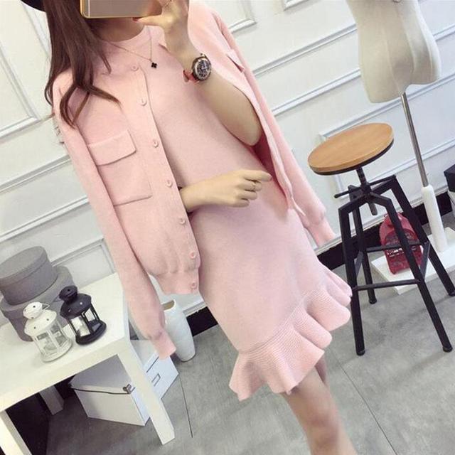 2017 Outono Inverno As Mulheres Se Vestem Terno Conjunto Ocasional Sólida Malha casaco Com Tanque Vestido Desfile de Moda de Celebridades Mulheres Vestido Conjuntos rosa