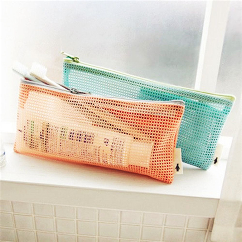 1Pcs Novelty Portable Mesh Women Cosmetic Bag Toothbrush pencil lipstick Makeup Storage Organizer Light Purse Pouch1Pcs Novelty Portable Mesh Women Cosmetic Bag Toothbrush pencil lipstick Makeup Storage Organizer Light Purse Pouch