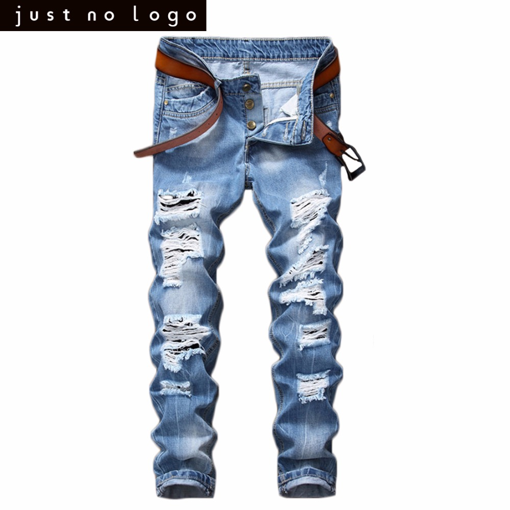 Cheap Mens Light Blue Skinny Ripped Jeans Straight