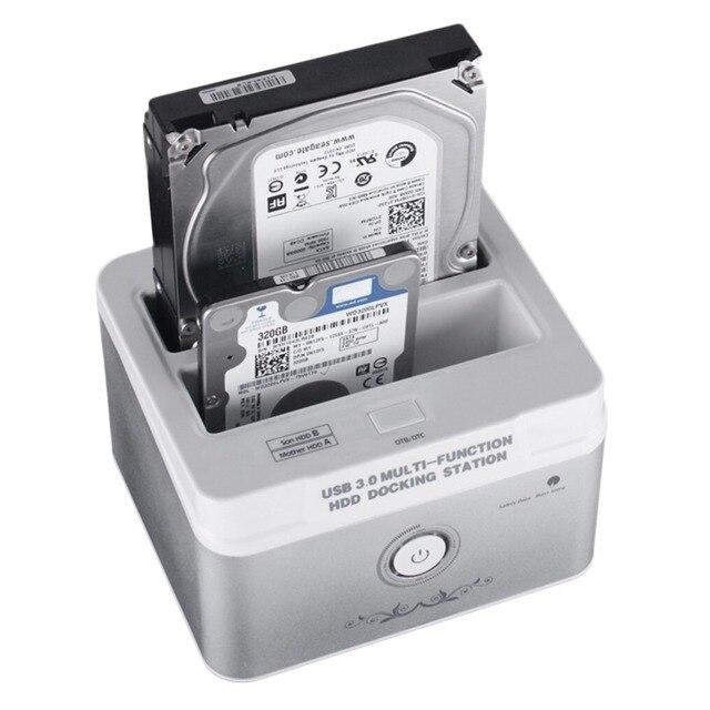NOS Multifuncionales 2.5 Pulgadas 3.5 Pulgadas USB 3.0 Dual HDD Docking Plug EE. UU. A 5 Gbps Disco Duro Externo En stock!
