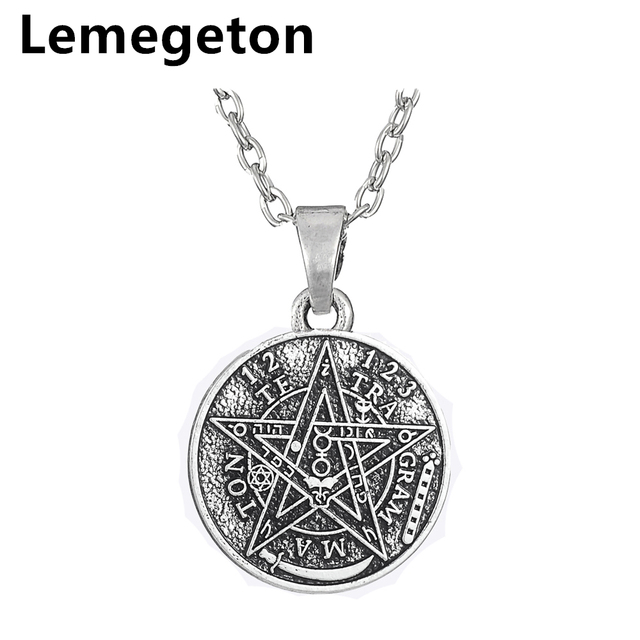 Lemegeton Jewish Stars Round Pendant Necklace Religious Antique Silver Jewelry for Women Amulet Mens Brand Name Jewelry