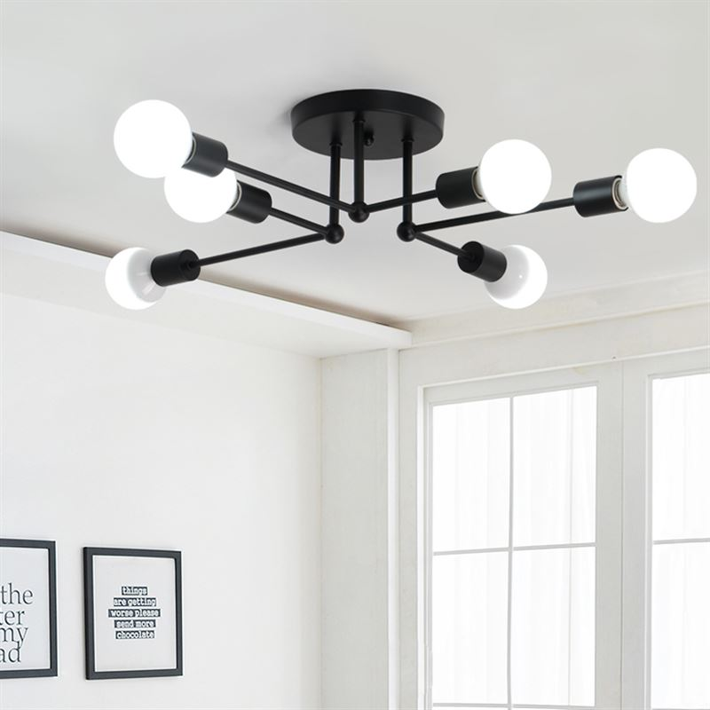 Nordic white /black E27 6 ceiling light bedroom light art living room restaurant study home lighting ceiling lamps ZA1123621