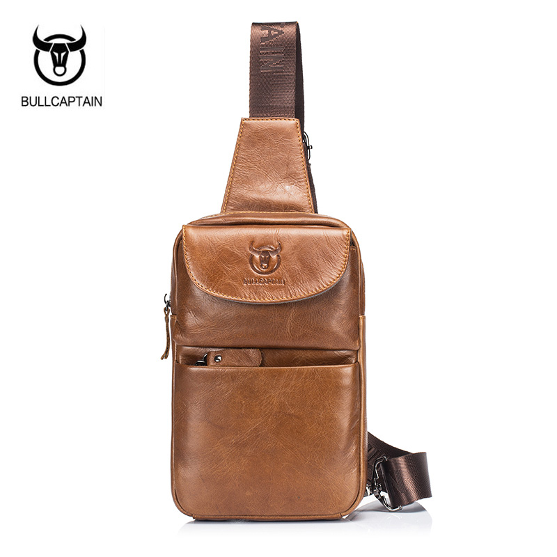 BULLCAPTAIN 2018 Brand Genuine Leather Men Chest Bag Fashion Crossbody Bags For Men Small Causal Shoulder Bag Message Bags XB098 стоимость