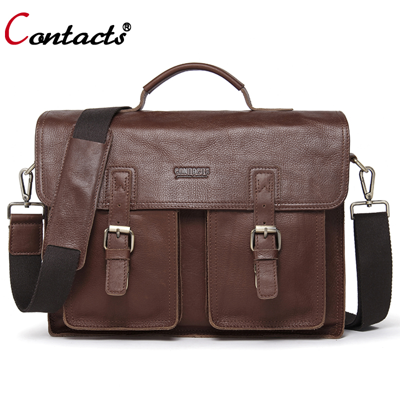 CONTACT'S Men bags Cow Genuine Leather Bag Men handbags Shoulder Messenger Bags For Men Business Laptop Briefcase bag Portfolio mva genuine leather men bag business briefcase messenger handbags men crossbody bags men s travel laptop bag shoulder tote bags